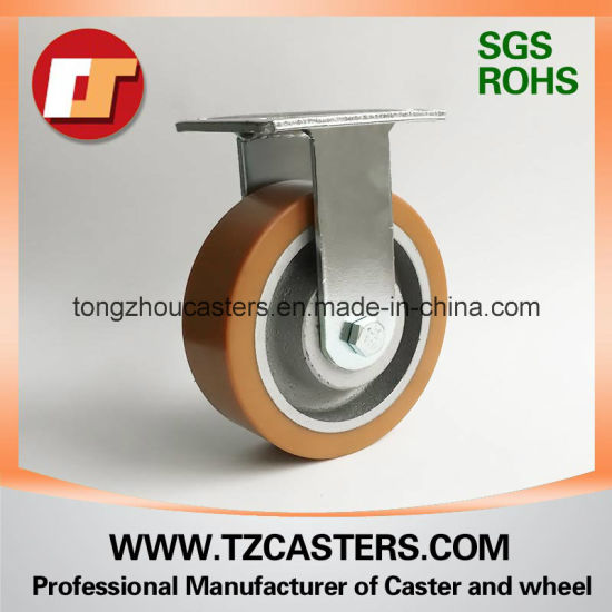 Fixed Caster Heavy Duty PU Wheel with Cast Iron Center 200*50