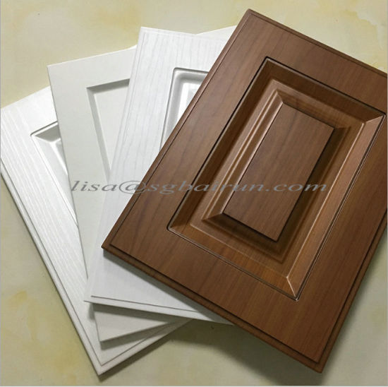 China Finished Raised Panel Curved Pvc Mdf Kitchen Cabinet Doors