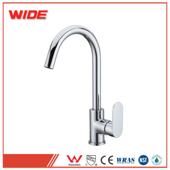 China European Simple Style Water Tap Single Curve Handle Kitchen