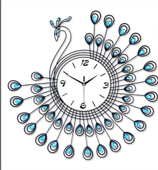 Special Shape Wall Metal Clock with Crystal for Home Decoration