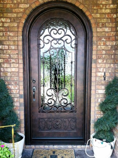 Round Top Custom Artistical Design Wrought Iron Entry Door