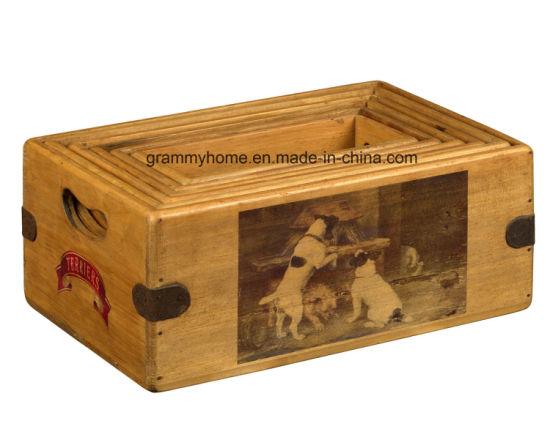 China Nostalgia Farm Wooden Box Great Terrier Lover Gift Vintage