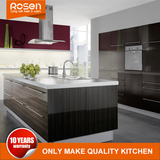 China Black Painted Wood Veneer Hot Sale Kitchen Cabinets Furniture