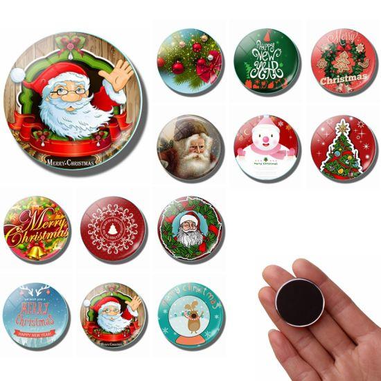 Cartoon Animal Christmas Ornament Holiday Giveaways Promotion Customized Glass Fridge Magnets