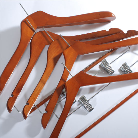 High Quality Wooden Sets Hangers of Anti Theft Hotel Clothes Suit Hangers