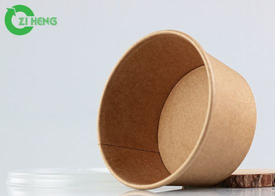 Wholesale Disposable Customized Kraft Paper Bamboo Bowl for Fruit with Lid