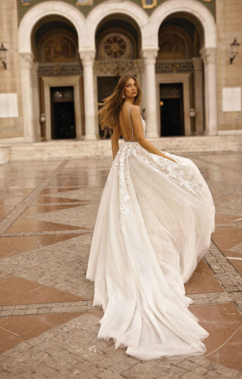Sexy V-Neck Lace Satin Mermaid Bridal Gowne Evening Dress