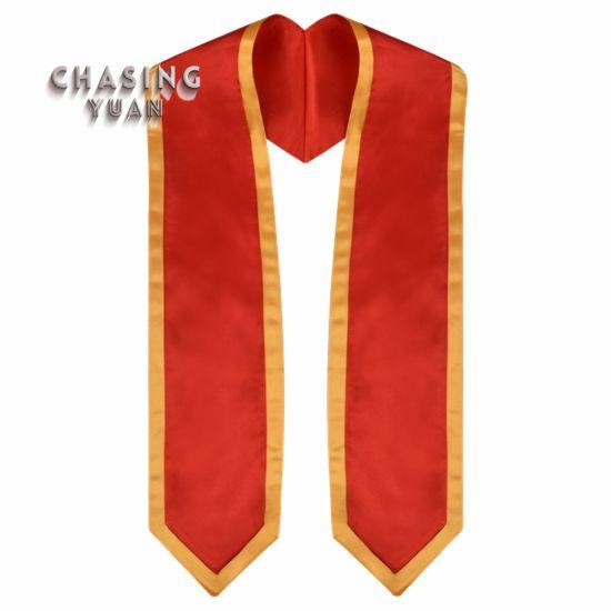 Red Satin Trimmed Graduation Stole Sash 60'' Long
