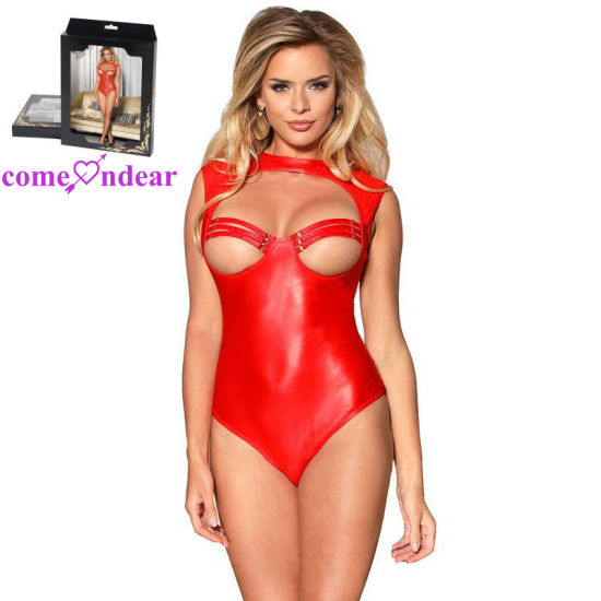 Leather Open Bust Red Ladies Adult Teddy Sexy Lingerie pictures & photos