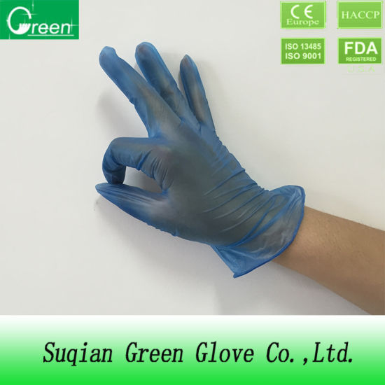 Clear Blue Synthetic White Colored Food Vinyl Gloves with Safety
