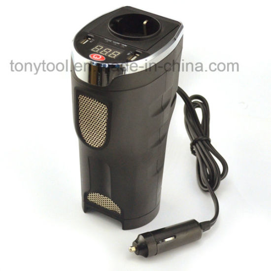 180W Car Cup Holder Power Inverter DC 12V to AC 230V Power Adapter with USB  Port and AC Outlet
