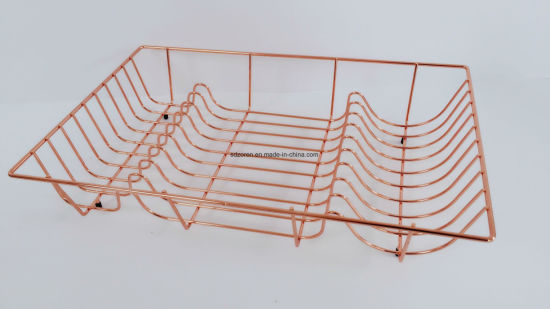 Golden Color Dish Rack Metal Kitchen Dish Drainer Rack pictures & photos