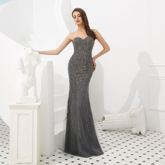 Sexy Mermaid Slim-Fit Strapless Sweep Train Satin with Heavy Beading with Cape Evening Dress Banquet Dress Celebrity Dress Party Dress