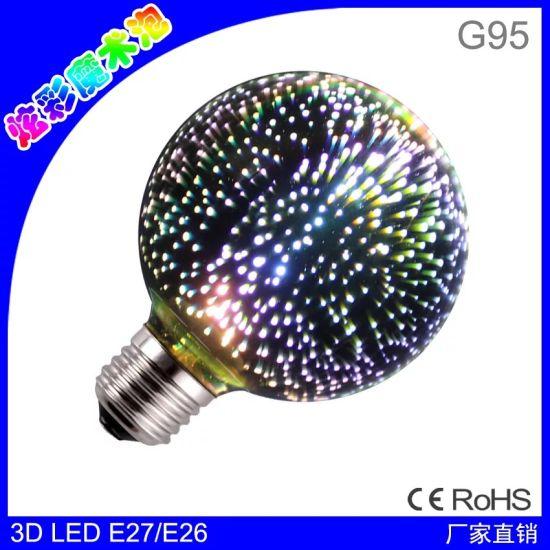 Newest Design Led Christmas Light G30 Fireworks Decoration 3d Led Bulbs Replacement G95 Led Filament