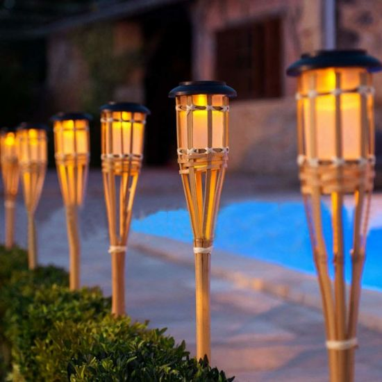 Solar LED Outdoor Pathway Lights, Solar Bamboo Torch Lights, Solar Lawn Lamp for Landscape Garden Patio Yard pictures & photos