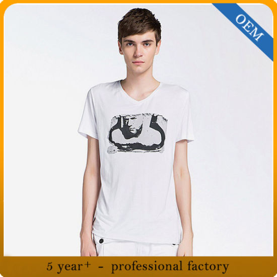 China Factory Price New Model V Neck Men T Shirt Design