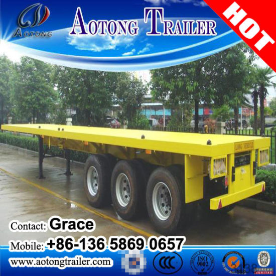China Manufacturer Tri-Axle 40FT 20FT Shipping Container Chassis Flatbed Semi Trailer on Sale pictures & photos