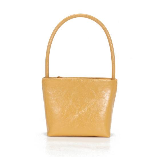 New Fashion Vintage Style Light Color Genuine Leather Underarm Women Hand Bag