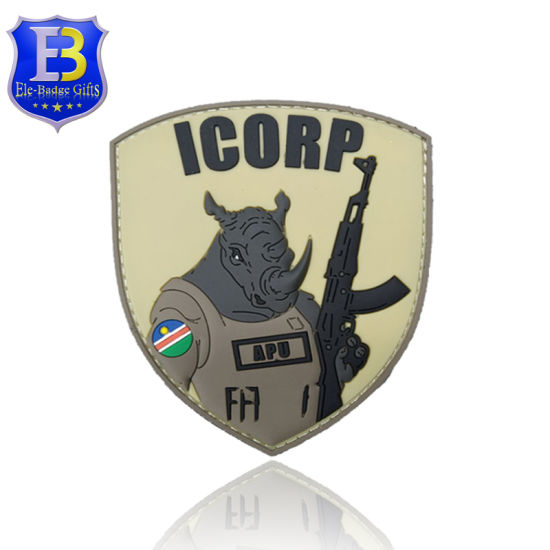 No Minimum Custom Military Rubber PVC Patch with Hook Backing 3D PVC Patch Rubber