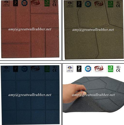 Public Sidewalk Rubber Paver Tile / Outdoor Playground Rubber Floor Mat