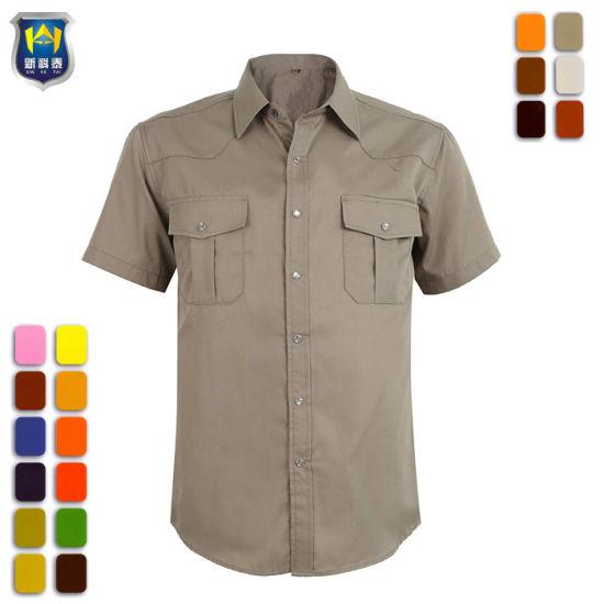 Mechanic Safety Breathable Embroidery Print Custom Logo Work Shirt