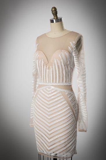 Perspective Back Design White Sequined Zipper Evening Dress