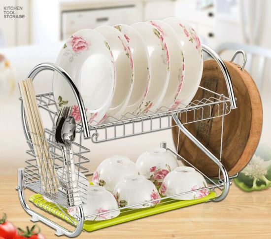 Chrome Large Capacity Metal Dish Drainer Drying Rack with Cutting Board Holder pictures & photos