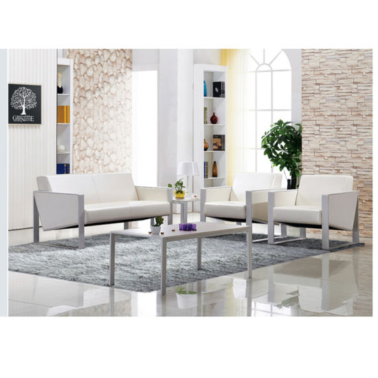 Silver Color Metal Frame Reception Sofa Seating With Side Coffee Table