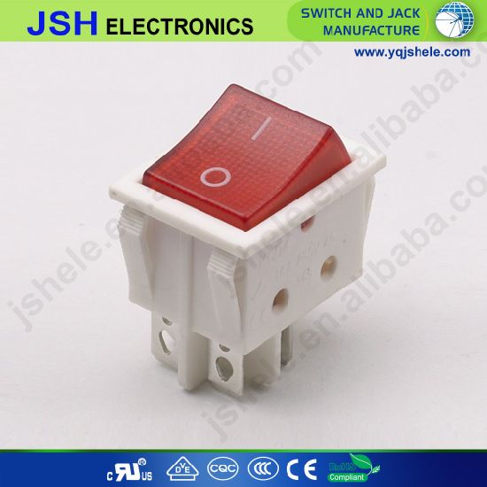 Waterproof Rocker Switch with Red Light 4pin From China Supplier