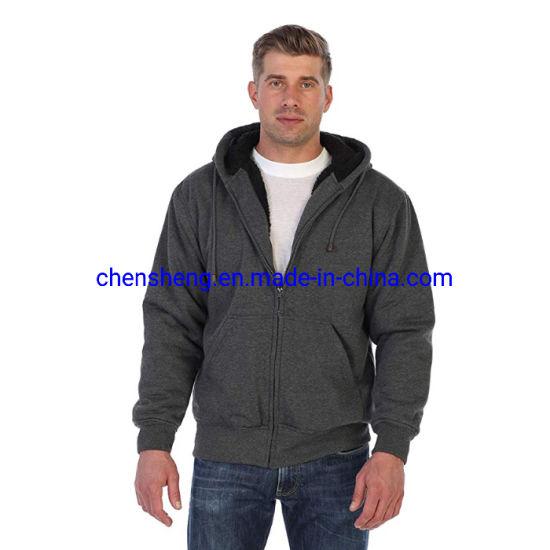 Stock Men Heavyweight Plain Cotton Sherpa Lined Fleece Hoodies Jacket