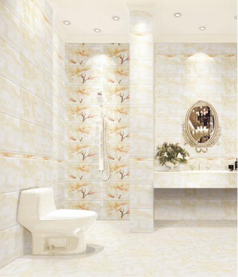 China Hot Sale Yellow Marble Design Ceramic Tile For Bathroom Wall