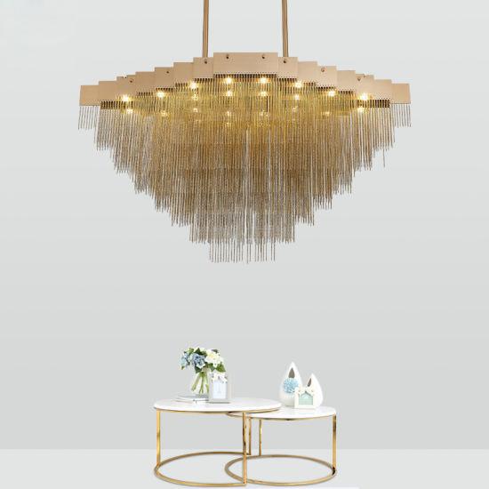china modern luxury aluminum chain tassel hanging drop suspension