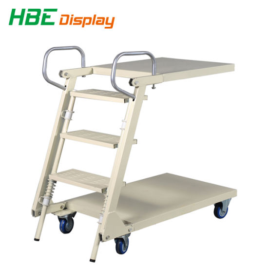 Supermarket Foldable and Adjustable Metal Step Ladder Cart pictures & photos