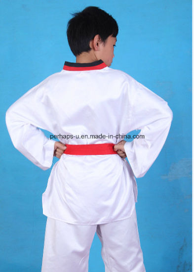 High Quality Long Sleeve Taekwondo Uniform Suit with Waistband pictures & photos