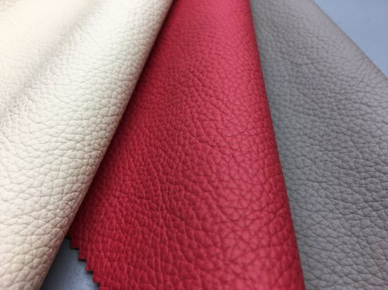 PU Artificial Synthetic Leather for Sofa Handbags with Lichee Pattern-T026