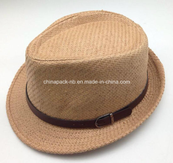 dbf297e4565e1 Sales Promotion Fedora Paper Straw Hats with Leather Decorate (CPA_60236)  pictures & photos
