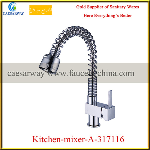 Sanitary Ware Brass Single Lever Spring Pull out Spout Kitchen Faucet Torneiras