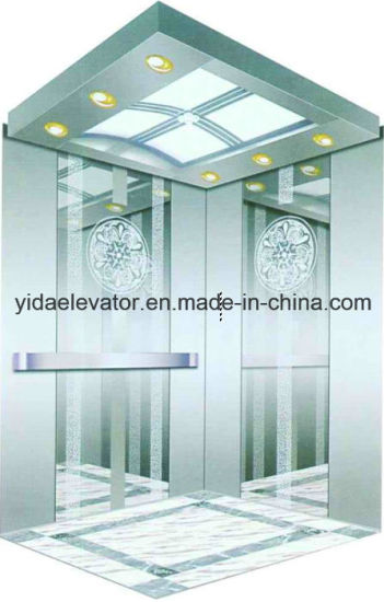 Passenger Elevator with Mirror Etched Stainless Steel Decoration (YDJ-O2-9) pictures & photos