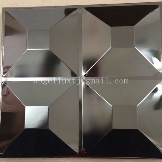 Anti-Fingerprint 304 Gold Color Stainless Steel Sheet 3D Embossed Finish for Hotel Bar Decoration pictures & photos