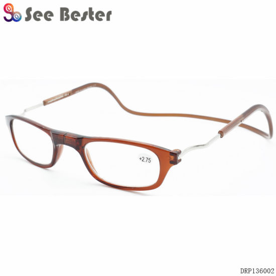 f34a45ce723 Women Men Clic Magnet Reading Glasses Brown Adjustable Hanging Neck  Magnetic Presbyopic
