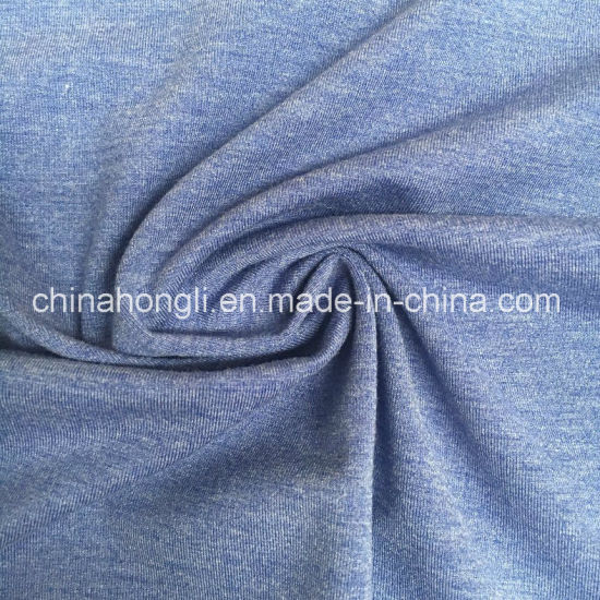 Single Jersey Polyester/Rayon/Spandex 57/35/8, 220GSM, Melange Knit Fabric for T-Shirt