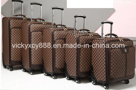 China PU Leather Men Wheeled Trolley Business Travel Luggage Bag ... f5090c188866d