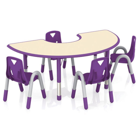 Kindergarten Furniture Crescent-Shaped Children's Plastic Table and Chair