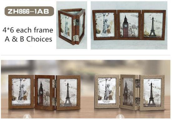 China New Three Folding Oak Wood Picture Frames - China Nature ...