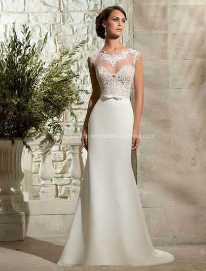 China See Through Cap Sleeve Bridal Dress Lace Wedding Gown - China ...