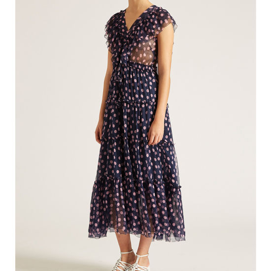 Customized Fashion Silk Ruffle V-Neck Navy Blue DOT Printing Dresses Wholesale