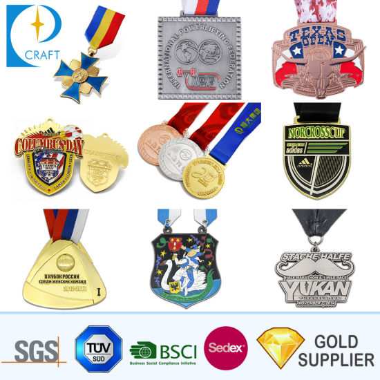 Free Design Cheap Custom Logo Wholesale Zinc Alloy Round Soft Enamel 3D Gold Boxing Race Running Marathon Sports Award Souvenir Metal Medal with Neck Ribbon