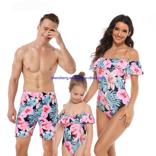 Cowinner Matching Family Swimsuit Mommy Daughter Swimwear Set Dad Boys Beach Shorts Family Beach One-Piece Swimwerar Sets
