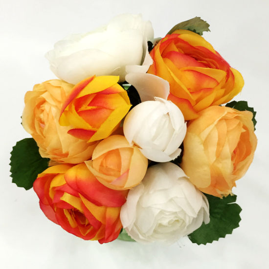 9 Heads Artificial Silk Rose Fabric Flower Bouquet Fake Leaves Wedding Decor