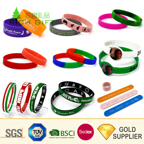 Free Sample Cheap Wholesale Custom Fashion Sport RFID Color Filled Printed Debossed Soft Silicone Slap Wrist Band Rubber Silicon Bracelet for Promotional Gifts pictures & photos